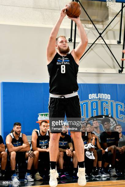 Przemek Karnowski of the Orlando Magic shoots the ball during the game against the New York Knicks during the 2017 Orlando Summer League on July 5...