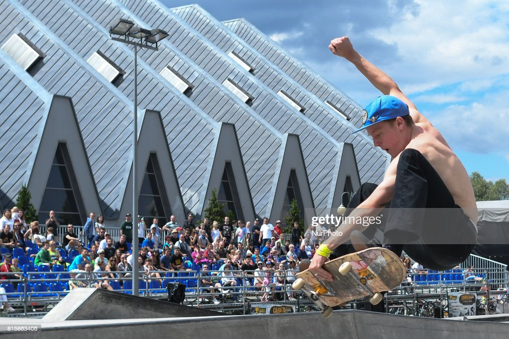 Przemyslaw Hippler during the final of Skateboarding competition of Carpatia Extreme Festival 2017, in Rzeszow. On Sunday, July 16, 2017, in Rzeszow, Poland.
