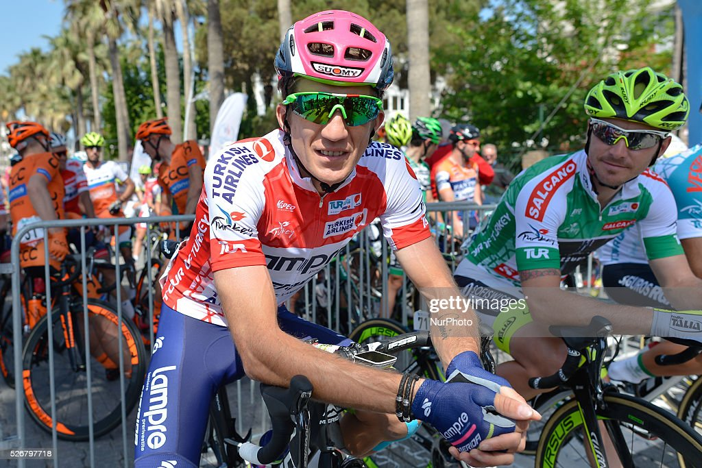 Przemyslaw Niemiec, a Polish rider from Lampre-Merida, in Turkish Airlines Red Jersey (Mountains), ahead of the eight stage of the 52nd Presidential Tour of Turkey 2016, the 201.7 km from Marmaris to Selcuk . On Sunday, 1 May 2016, in Selcuk, Turkey.