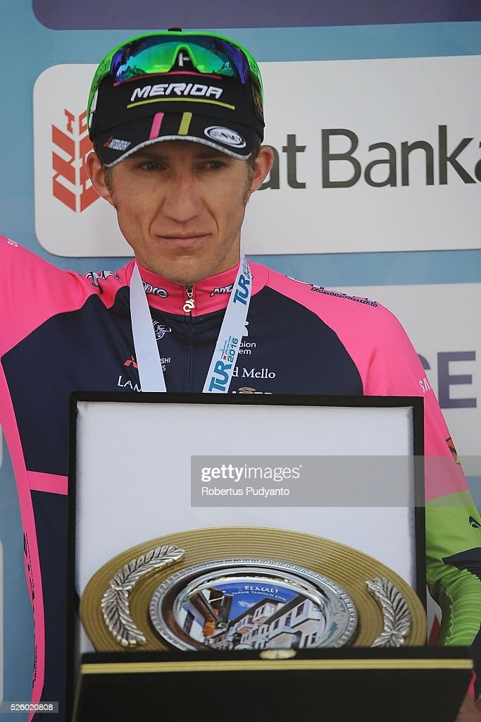 Przemyslaw Niemiec of Lampre-Merida celebrates on the podium after taking runner-up position during Stage 6 of the 2016 Tour of Turkey, Kumluca to Elmali (117 km) on April 29, 2016 in Ankara, Turkey.