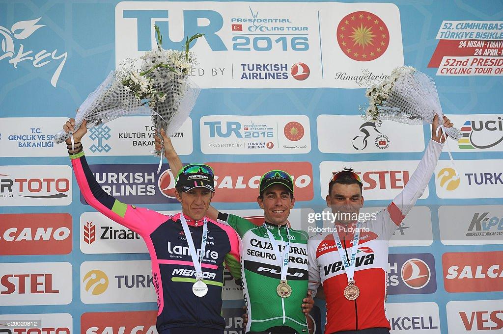 Przemyslaw Niemiec of Lampre-Merida, Jaime Roson Garcia of Caja Rural-Seguros RGA, and Pawel Cieslik of Verva Activejet Pro Cycling Team celebrate on the podium during awarding ceremony Stage 6 of the 2016 Tour of Turkey, Kumluca to Elmali (117 km) on April 29, 2016 in Ankara, Turkey.