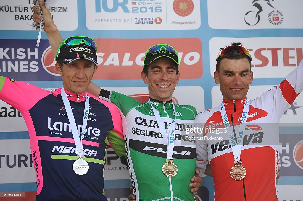 Przemyslaw Niemiec of Lampre-Merida, Jaime Roson Garcia of Caja Rural-Seguros RGA, and Pawel Cieslik of Verva Activejet Pro Cycling Team celebrate on the podium during awarding ceremony Stage 6 of the 2016 Tour of Turkey, Kumluca to Elmali (117 km) on April 29, 2016 in Ankara, Turkey.