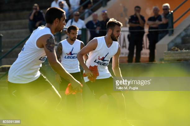 Przemyslaw Szyminski of Palermo takes part in a training session after the presentation of Giuseppe Bellusci as new player of US Citta' di Palermo at...