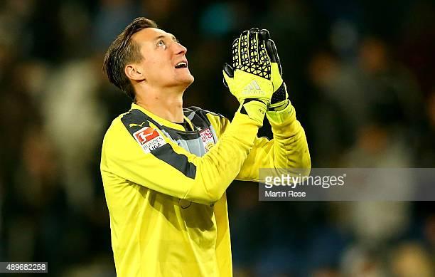 Przemyslaw Tyton goalkeeper of Stuttgart celebrates during the Bundesliga match between Hannover 96 and VfB Stuttgart at HDIArena on September 23...