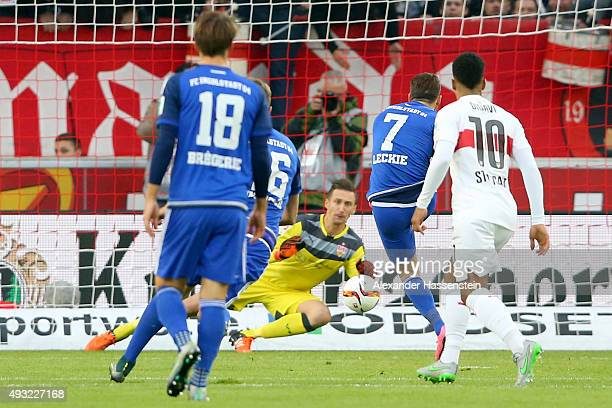 Przemyslaw Tyton keeper of Stuttgart safes e penalty by Mathew Leckie of Ingolstadt during the Bundesliga match between VfB Stuttgart and FC...
