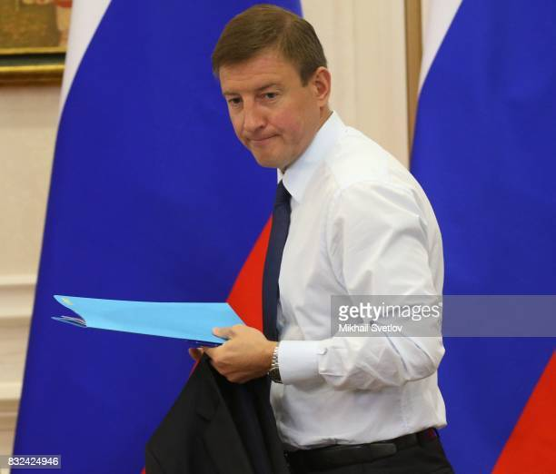Pskov Oblast Governor Andrey Turchak attends the meeting on transport infrastructure development on August 16 2017 in Pionersky Kaliningrad Oblast...