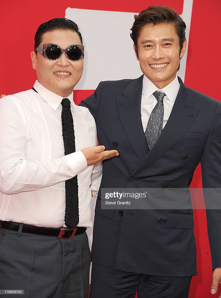 Psy and Byung-hun Lee arrives at the 'RED 2' - Los Angeles Premiere at Westwood Village on July 11, 2013 in Los Angeles, California.