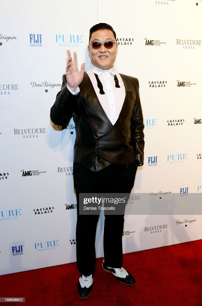 Psy arrives at the New Year's Eve kick off party 'Gangnam Style' with a performance at PURE Nightclub on December 29, 2012 in Las Vegas, Nevada.