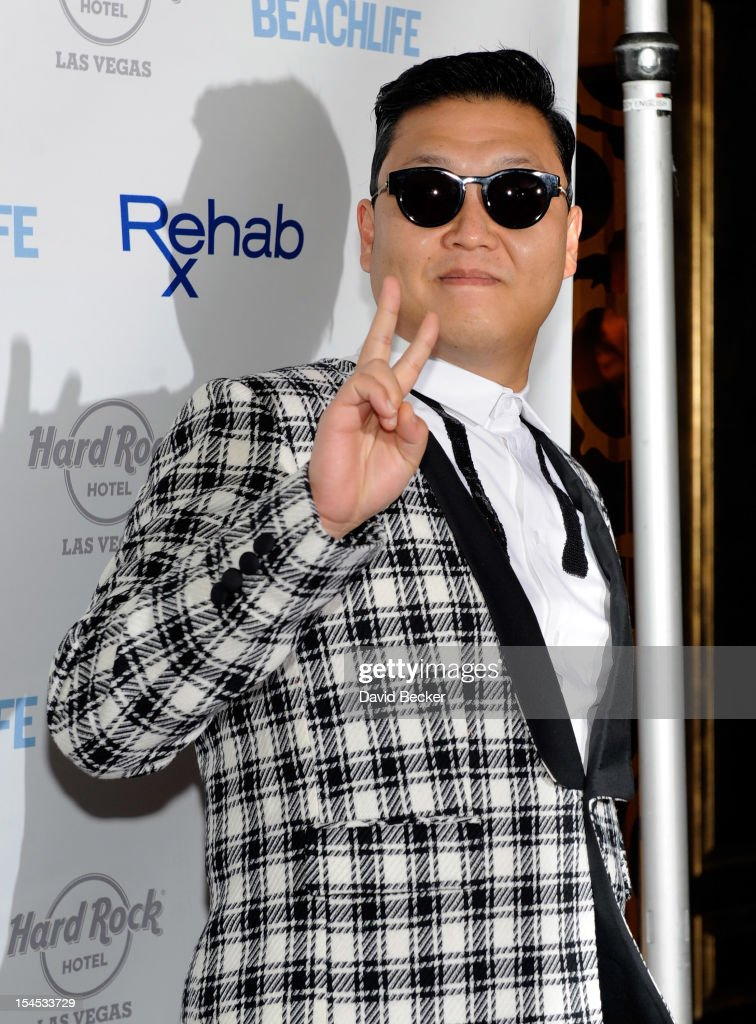 <a gi-track='captionPersonalityLinkClicked' href=/galleries/search?phrase=Psy+-+Artista&family=editorial&specificpeople=9699998 ng-click='$event.stopPropagation()'>Psy</a> arrives to perform at the Hard Rock Hotel & Casino during Rehab, the resort's weekly pool party, on October 21, 2012 in Las Vegas, Nevada.