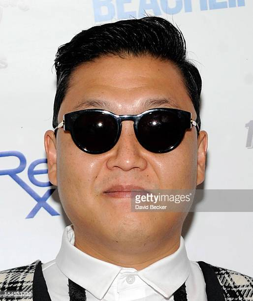 Psy arrives to perform at the Hard Rock Hotel Casino during Rehab the resort's weekly pool party on October 21 2012 in Las Vegas Nevada