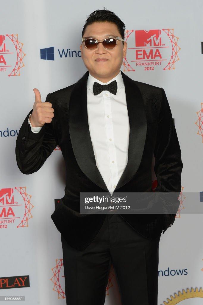 Psy attends the MTV EMA's 2012 at Festhalle Frankfurt on November 11, 2012 in Frankfurt am Main, Germany.