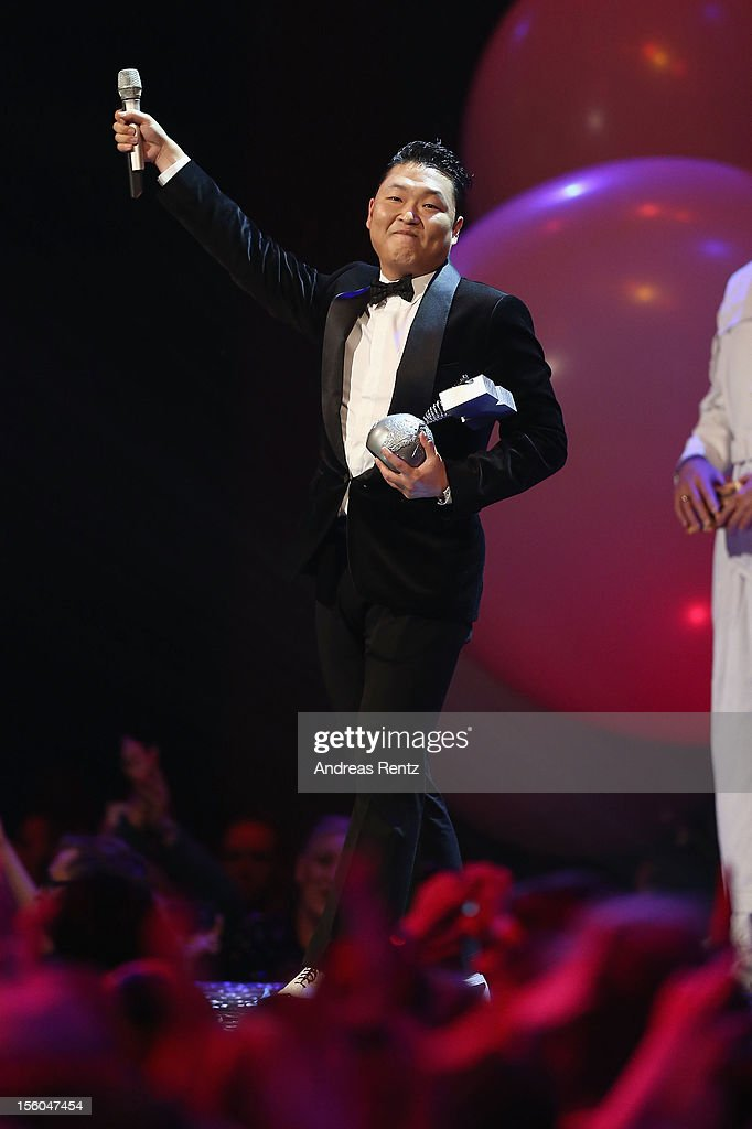 Psy collects the award for Best Video onstage at the MTV EMA's 2012 at Festhalle Frankfurt on November 11, 2012 in Frankfurt am Main, Germany.