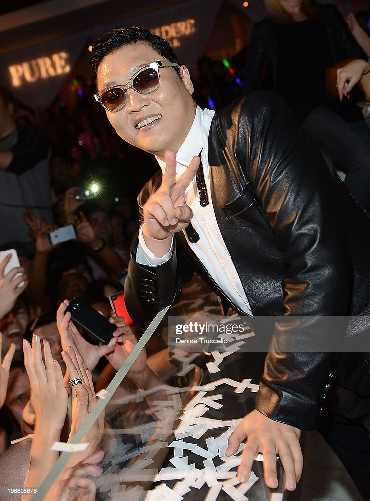 Psy kicks off New Year's Eve 'Gangnam Style' with a performance at PURE Nightclub on December 29, 2012 in Las Vegas, Nevada.