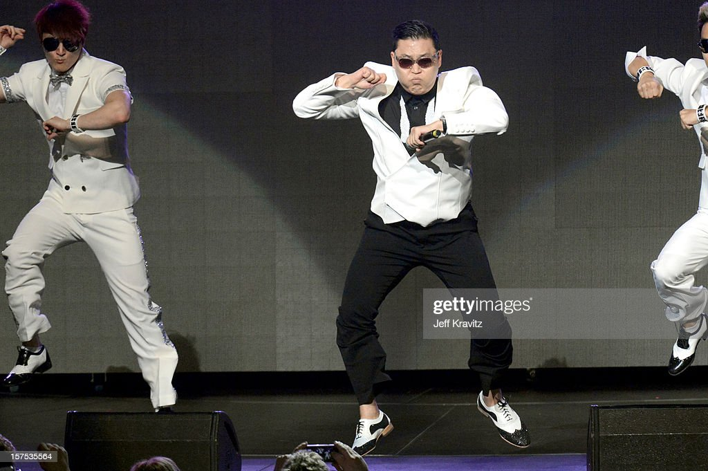 Psy performs at KIIS-FM's Jingle Ball at Nokia Theatre LA Live on December 3, 2012 in Los Angeles, California.
