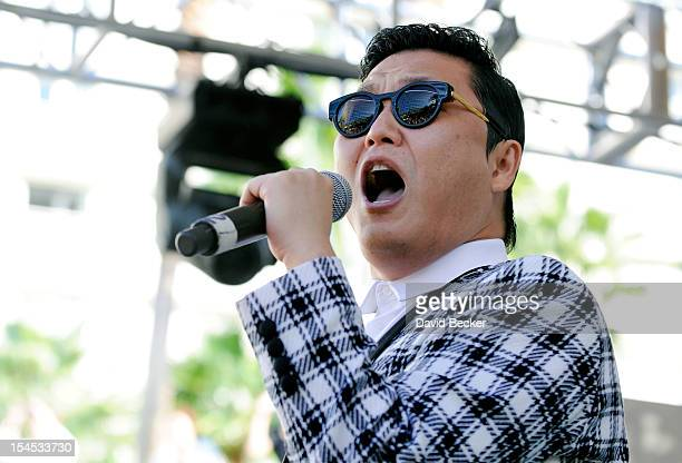 Psy performs at the Hard Rock Hotel Casino during Rehab the resort's weekly pool party on October 21 2012 in Las Vegas Nevada