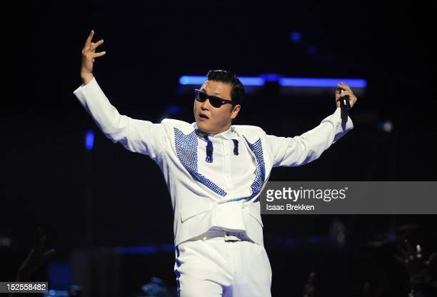Psy performs onstage during the 2012 iHeartRadio Music Festival at the MGM Grand Garden Arena on September 21 2012 in Las Vegas Nevada