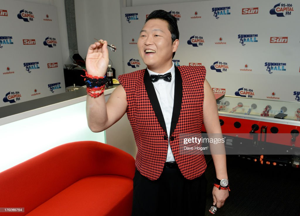 Psy poses in a backstage studio during the Capital Summertime Ball at Wembley Stadium on June 9, 2013 in London, England.