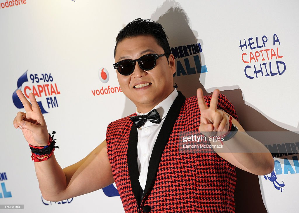 <a gi-track='captionPersonalityLinkClicked' href=/galleries/search?phrase=Psy+-+Entertainer&family=editorial&specificpeople=9699998 ng-click='$event.stopPropagation()'>Psy</a> poses in the Media Room at the Capital Summertime Ball at Wembley Arena on June 9, 2013 in London, England.