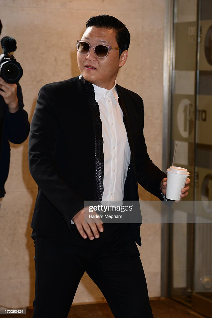 Psy sighted arriving at BBC Radio One on June 10, 2013 in London, England.