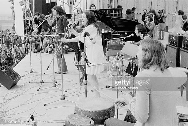 Psychedelic folk band The Incredible String Band performing at the Bickershaw Festival in Greater Manchester May 1972