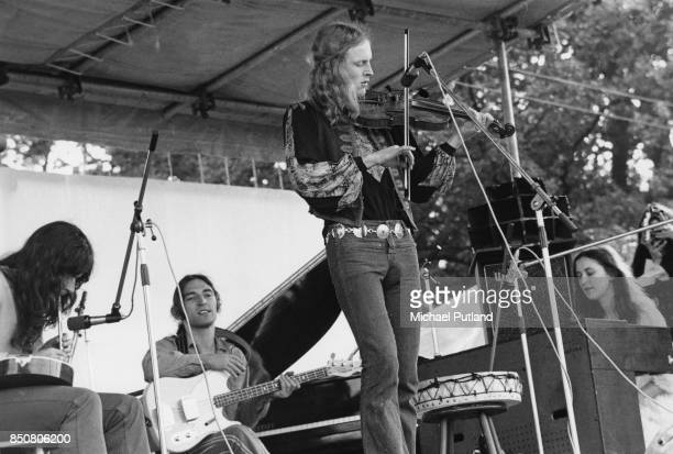 Psychedelic folk group The Incredible String Band at Lincoln Folk Music Festival Lincoln UK 24th July 1971 From left to right mulltiinstrumentalist...