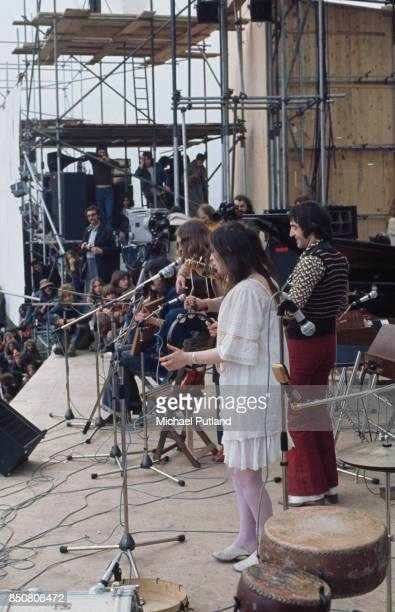 Psychedelic folk group The Incredible String Band at Lincoln Folk Music Festival Lincoln UK May 1972 From left to right mulltiinstrumentalist Malcolm...