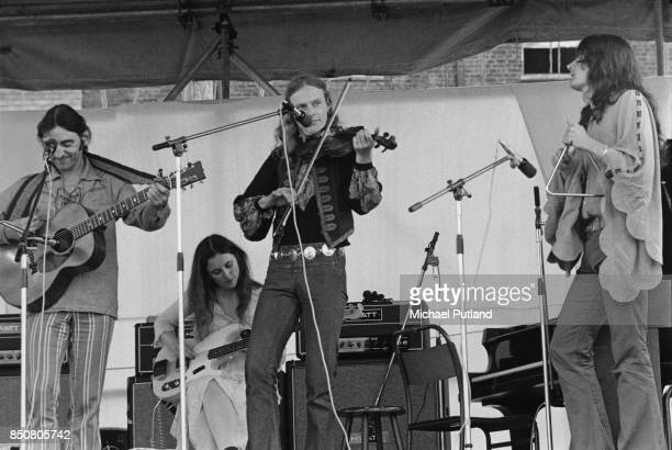 Psychedelic folk group The Incredible String Band Lincoln UK 1971 From left to right guitarist Mike Heron bassist Licorice McKechnie singer and...