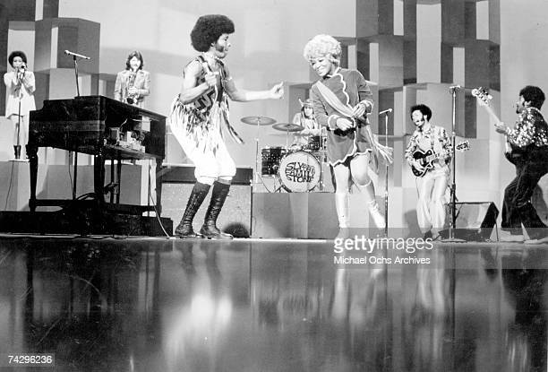 Psychedelic soul group 'Sly The Family Stone' perform onstage at a TV show in 1968 Cynthia Robinson Jerry Martini Sly Stone Gregg Errico Rosie Stone...