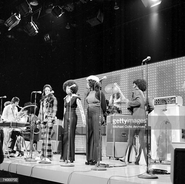 Psychedelic soul group 'Sly The Family Stone' performs on the TV show 'The Midnight Special' on April 30 1973 in Burbank California