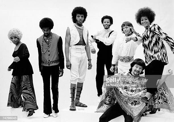 Psychedelic soul group 'Sly The Family Stone' pose for a portrait in 1968 Rosie Stone Larry Graham Sly Stone Freddie Stone Gregg Errico Jerry Martini...
