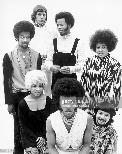 Psychedelic soul group 'Sly The Family Stone' pose for a portrait in 1968 Gregg Errico Freddie Stone Cynthia Robinson Jerry Martini Sly Stone Rosie...