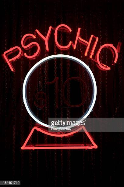 Psychic Neon Sign with Crystal Ball