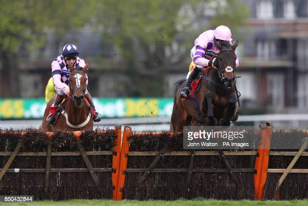 Ptit Zig ridden by Daryl Jacob jumps the last on the way to winning The Bet365 Josh Gifford Juvenile Handicap Hurdle during the bet365 Ultimate...