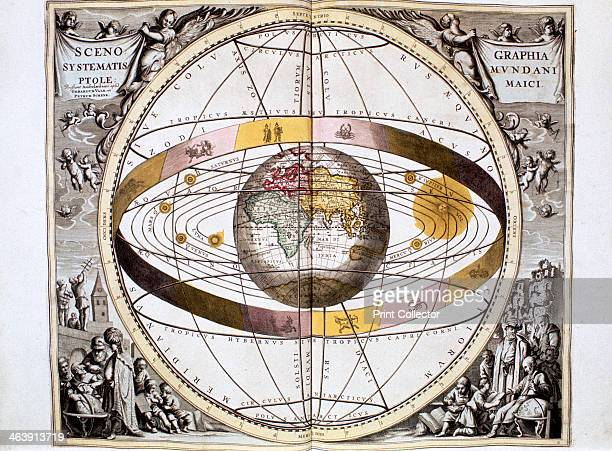 Ptolemaic system of the Universe 1708 Illustration showing the position of the Sun Moon and planets and the band of the ecliptic Proposed by Claudius...