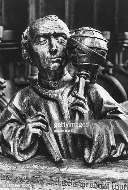 Ptolemy Claudius Ptolemaeus *87150 ancient Greek mathematician geographer and astronomer Father of the Ptolemy System wooden bust at Ulm Cathedral...