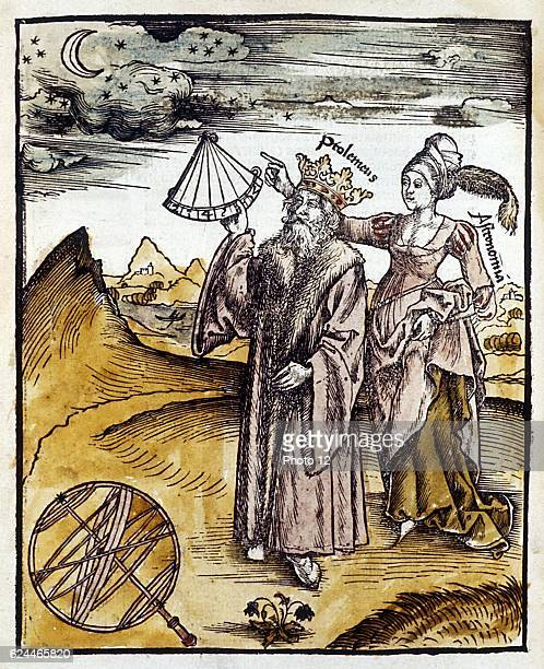 Ptolemy fl150 AD Alexandrian Greek astronomer and geographer using quadrant to observe moon and stars Urania Muse of Astronomy instructs him Shown...