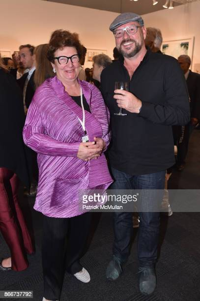 Ptra Rumber and Andrew Noelqa attend the IFPDA Fine Art Print Fair Opening Preview at The Jacob K Javits Convention Center on October 25 2017 in New...