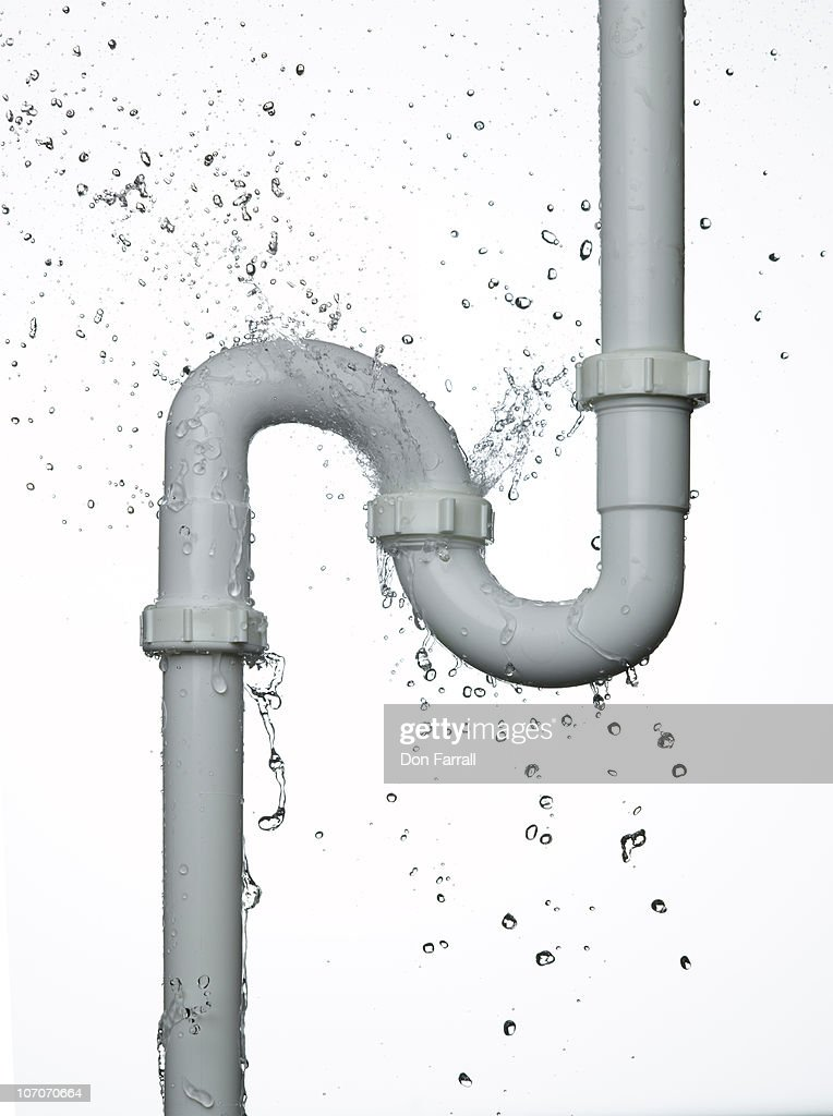 P-Trap leaking against white background