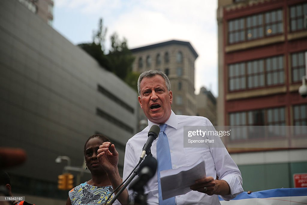 Public Advocate and mayoral candidate Bill de Blasio speaks in Union Square in support of demonstrating fast food workers on August 29, 2013 in New York City. Across the country thousands of low-wage workers are expected to walk off their jobs Thursday at fast food establishments in several U.S. cities. Workers at KFC, Wendy's, Burger King, McDonald's and other restaurants are calling for a living wage of $15 an hour and the right to form a union without retaliation. In a poll released Wednesday by Quinnipiac University, de Blasio is now close to the 40 percent threshold he'd need to avoid a runoff in the Democratic primary.