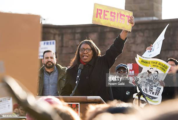 Public Advocate Letitia James attends a rally to protest the executive order that President Donald Trump signed clamping down on refugee admissions...