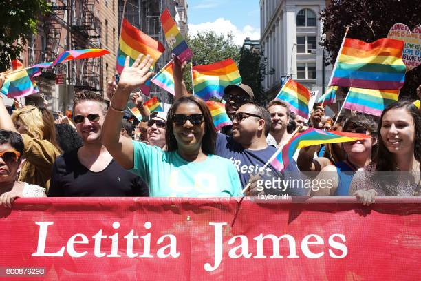 Public Advocate Letitia James marches during the 2017 Pride March in the West Village on June 25 2017 in New York City