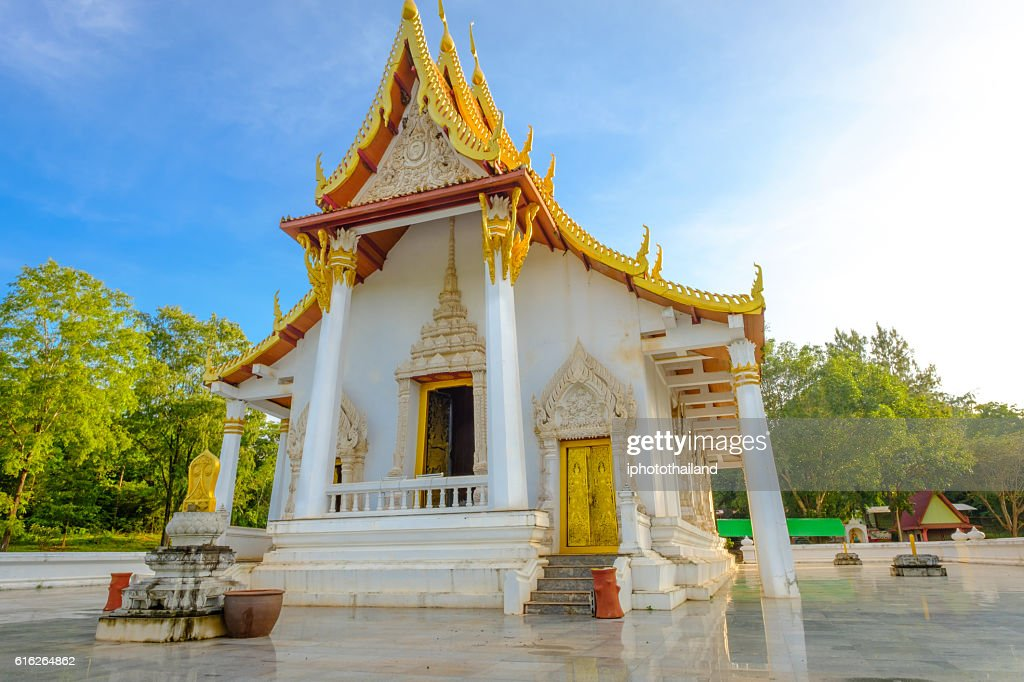 public ancient old white vihara hall buddha. : Stock Photo