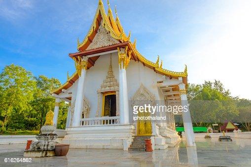 public ancient old white vihara hall buddha. : Stock Photo