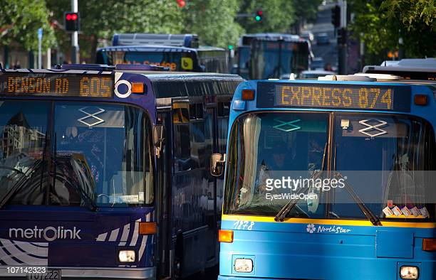 Public buses in the citycenter on November 24 2010 in Auckland New Zealand