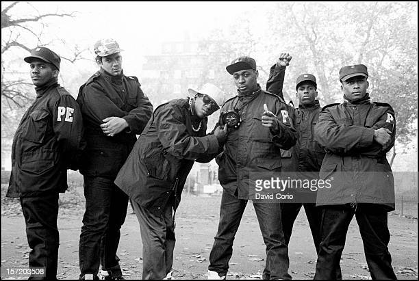 Public Enemy pose for group portraits in Hyde Park London 2nd November 1987 Flavor Flav and Chuck D are third and fourth from left