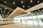 Public event exhibition hall, blurred bokeh defocused background, business trade show or modern interior architecture concept