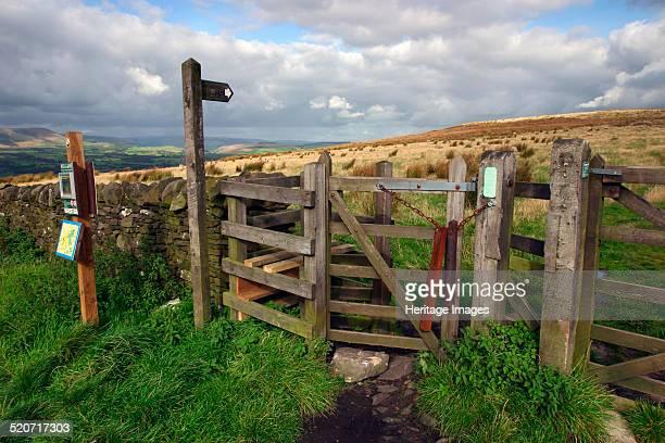 Public footpath sign and kissing gate Longridge Fell Lancashire