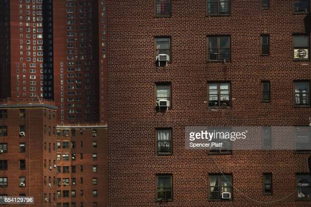 Public housing stands in lower Manhattan on March 16 2017 in New York CityThe budget blueprint President Donald Trump released Thursday calls for the...