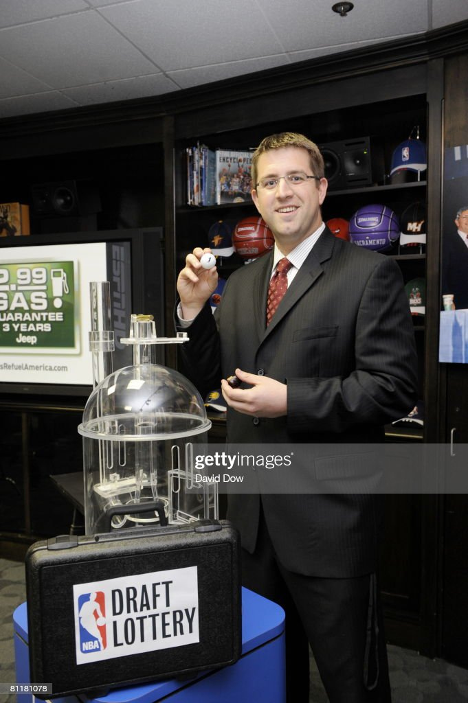 Public Media Relations Coordinator Brandon Faber of the Chicago Bulls celebrates after receiving the #1 pick during the 2008 NBA Draft Lottery at the NBATV Studios on May 20, 2008 in Secaucus, New Jersey.