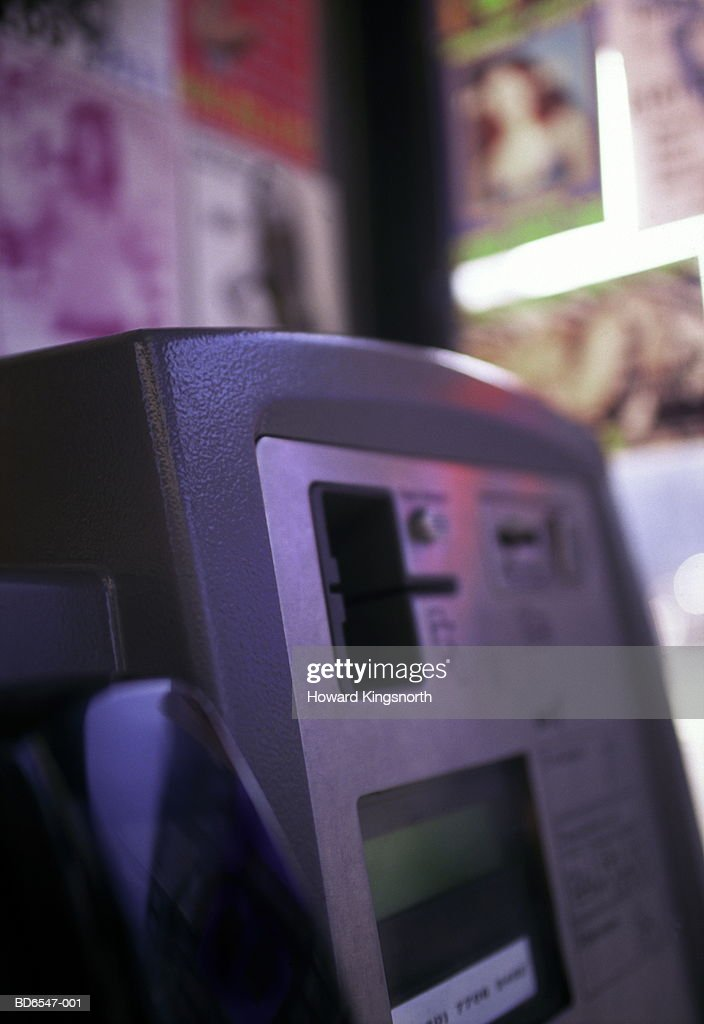 Public payphone, close-up : Foto stock